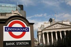 Estação subterrânea do Banco do Inglaterra imagens de stock