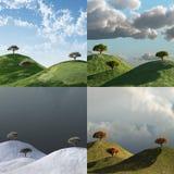 4 estações, árvores em uma paisagem ilustração do vetor