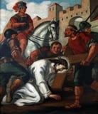 ? Estações da cruz, quedas de Jesus a segunda vez Imagens de Stock Royalty Free