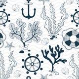 Estações de tratamento de água, boia salva-vidas, concha do mar, roda do boi e teste padrão sem emenda da âncora ilustração stock