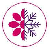 Estações do ícone Mola e inverno Meios flor e floco de neve da metade Neve na primavera ilustração do vetor