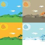 Estações dos desenhos animados do vetor Imagem de Stock