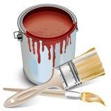 Estaño con la pintura y los cepillos Foto de archivo