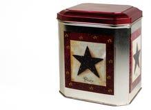 Estaño de la galleta de la Navidad Foto de archivo libre de regalías