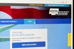 ESTA -旅行授权的电子系统 免版税库存图片