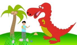 Dinossauro e menino Fotos de Stock Royalty Free