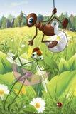 Ilustração do estilo dos desenhos animados do caráter da formiga e da libélula Fotografia de Stock Royalty Free