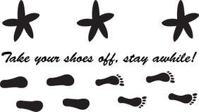 Descole suas sapatas, estada por algum tempo! ilustração stock