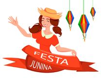 Esta Junina greeting card, poster, banner or invitation. Festa Junina greeting card, poster, banner or invitation. Brazil June festival, cheerful lady waving Royalty Free Stock Images