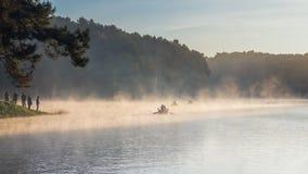 Esta manhã em Pang Ung Forestry Plantations no inverno foto de stock royalty free