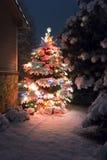 Esta árvore de Natal coberto de neve está para fora brilhantemente contra a obscuridade - tons azuis da luz da noite atrasada nes Foto de Stock