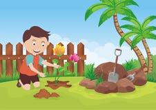 Establecimiento de la flor en el jardín libre illustration