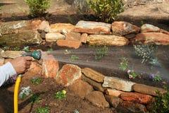 Establecimiento de un jardín fotografía de archivo libre de regalías