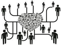 Establecimiento de una red de la gente a través del centro del corazón stock de ilustración