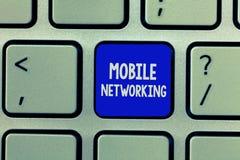 Establecimiento de una red del móvil del texto de la escritura Red de comunicaciones del significado del concepto donde está inal foto de archivo libre de regalías