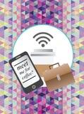 Establecimiento de una red del negocio con el mensaje del smartphone Foto de archivo libre de regalías