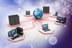 Establecimiento de una red del ordenador stock de ilustración