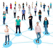 Establecimiento de una red diversificado de la gente imagen de archivo libre de regalías