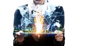 Establecimiento de una red global como negocio imagen de archivo