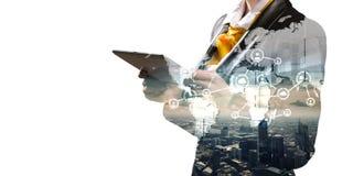 Establecimiento de una red global como negocio stock de ilustración