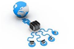 Establecimiento de una red global del ordenador Foto de archivo libre de regalías
