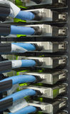Establecimiento de una red que cablegrafía en un datacenter moderno Imagen de archivo
