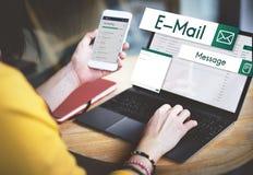 Establecimiento de una red social Concep de la conexión de las comunicaciones globales del email fotos de archivo