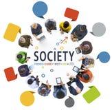 Establecimiento de una red social de la gente con la sociedad del texto Fotos de archivo libres de regalías