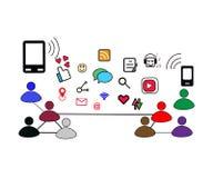 Establecimiento de una red social en gente hoy con muchos clase de icono libre illustration