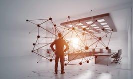 Establecimiento de una red y concepto social de la comunicación como punto eficaz para el negocio moderno foto de archivo libre de regalías