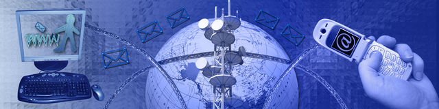 Establecimiento de una red y conectividad stock de ilustración