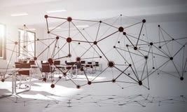 Establecimiento de una red y conexión inalámbrica como concepto para el modo de direccionamiento efectivo foto de archivo