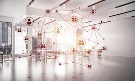 Establecimiento de una red y conexión inalámbrica como concepto para el modo de direccionamiento efectivo imagen de archivo