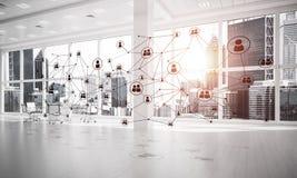 Establecimiento de una red y conexión inalámbrica como concepto para el modo de direccionamiento efectivo fotos de archivo libres de regalías