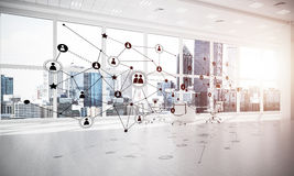 Establecimiento de una red y conexión inalámbrica como concepto para el modo de direccionamiento efectivo imágenes de archivo libres de regalías