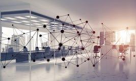 Establecimiento de una red y conexión inalámbrica como concepto para el modo de direccionamiento efectivo imagenes de archivo