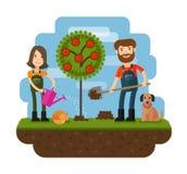 Establecimiento del árbol, huerta, granjero, granja Conceptos planos del ejemplo del diseño para trabajar, cultivo, cosechando Foto de archivo