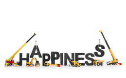 Establish happiness: Machines building word. Royalty Free Stock Photos