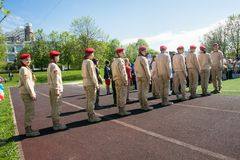 Russia, Moscow, May, 07.2018: The `Young Army` Military Movement`s Cadets, participating in school solemn event on the Victory day. Established in October 2015 stock image