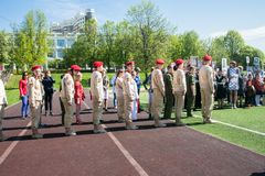 Russia, Moscow, May, 07.2018: The `Young Army` Military Movement`s Cadets, participating in school solemn event on the Victory day. Established in October 2015 stock photography