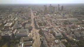 Establishing aerial shot of Warsaw, Poland stock video