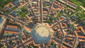 Establishing aerial view of star-shape town of Palmanova, Italy Stock Photo