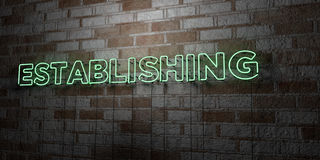 ESTABLISHING - Glowing Neon Sign on stonework wall - 3D rendered royalty free stock illustration. Can be used for online banner ads and direct mailers Stock Photography