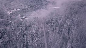 Establishing and revealing aerial shot of a snow covered road and trees that opens up to mountains. And clouds stock video