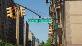 Establishing Shot of Central Park West Streetsign. A daytime establishing shot of a Central Park West street sign stock footage