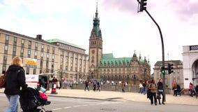 Establishing shot of the Hamburg town hall and market place. stock video