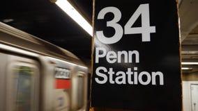 Establishing Shot of Subway Departing the 34th Street Station. 8720 An establishing shot of a Manhattan subway train departing the 34th Street station stock footage