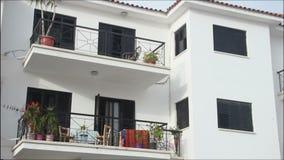 Establishing shot, panorama view, nice luxury villa with balconies, resort town. Stock footage stock video
