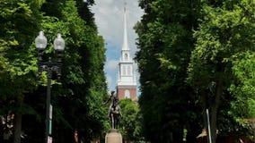 Establishing Shot of Paul Revere Statue Near Old North Church. 7138 An establishing shot of the Paul Revere Statue near the Old North Church on the Freedom Trail stock footage