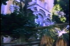 Establishing shot of villa exterior stock video